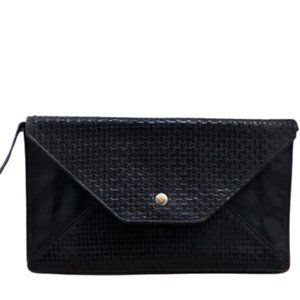 1970s Fendi Black Woven Leather Shoulder Bag
